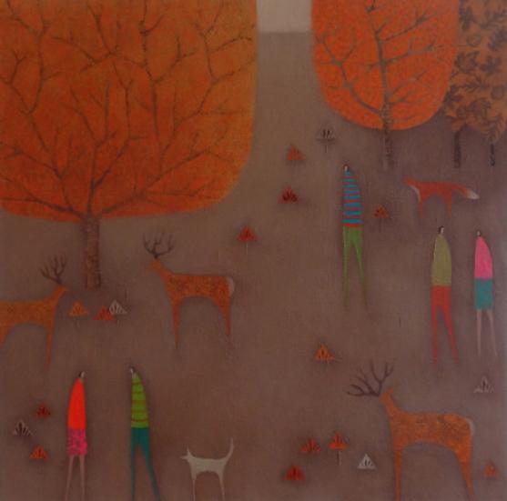 3-deer-and-a-fox-acrylic-on-canvas-51x51cm-850