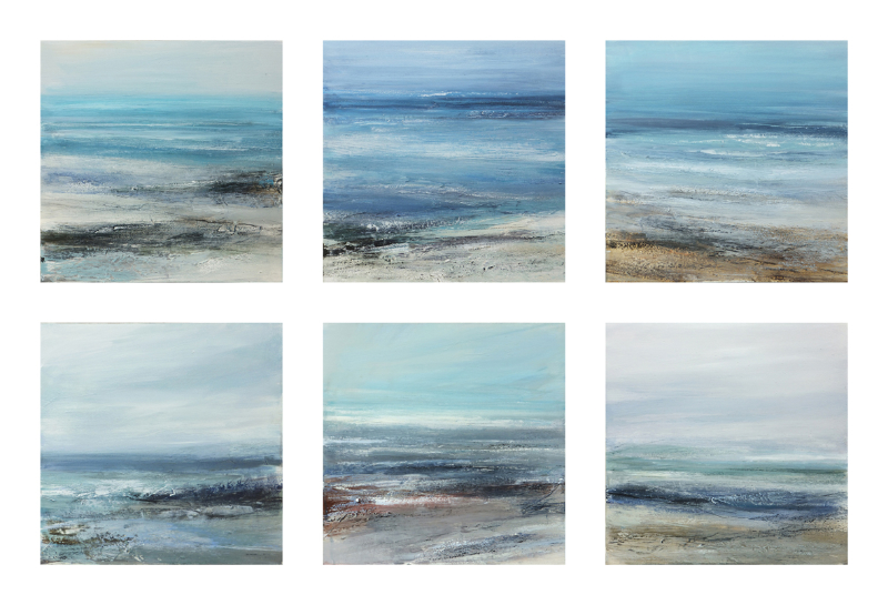 Weeks 24 and 25 A new seascape series using acrylic and various textures each one 40cm x 40cm
